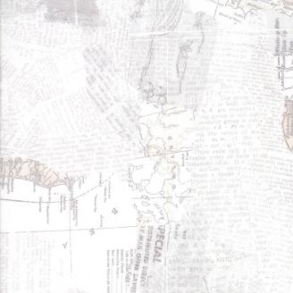 Tissu patchwork collage d'écritures et de cartes géographiques écrues - Compositions de Basic Grey