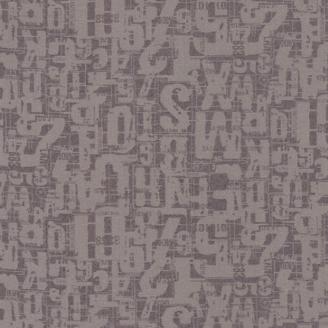 Tissu patchwork lettres et chiffres écrus fond taupe - Compositions de Basic Grey
