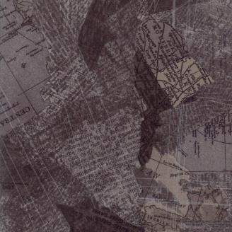 Tissu patchwork collage d'écritures et de cartes géographiques taupe - Compositions de Basic Grey