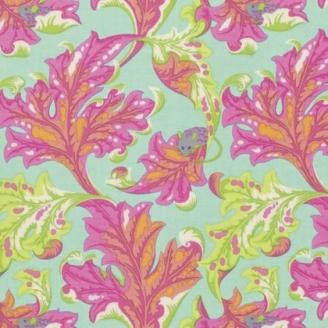 Tissu patchwork Tula Pink - Feuilles et petite souris fond lagon - Tabby Road