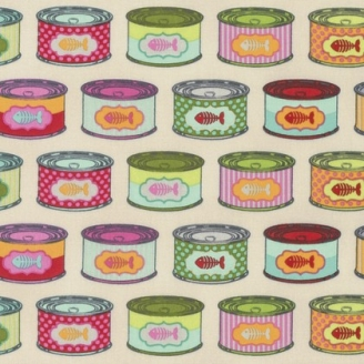Tissu patchwork Tula Pink - Boites de sardines fond écru - Tabby Road