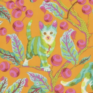 Tissu patchwork Tula Pink Chat Disco vert et orange - Tabby Road