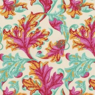 Tissu patchwork Tula Pink - Feuilles et petite souris fond écru - Tabby Road