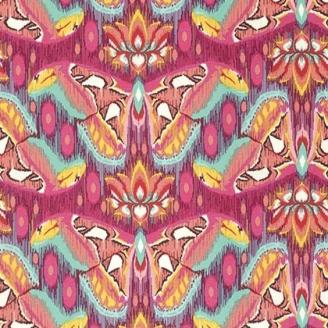 Tissu patchwork Tula Pink - Papillon Atlas rose tourmaline - Eden