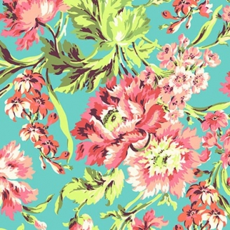Tissu patchwork Amy Butler - Grandes fleurs roses fond turquoise - Love
