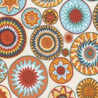 Tissu patchwork ronds ethniques Bharati Terra fond écru - Snow Leopard designs