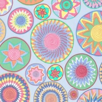 Tissu patchwork ronds ethniques Bharati Dynasty fond ciel - Snow Leopard designs