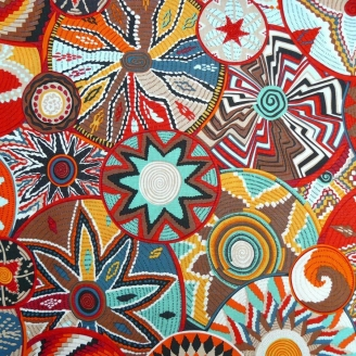 Tissu patchwork Paniers africains (african baskets) bruns Terra - Snow Leopard designs