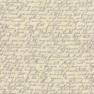 Tissu patchwork écritures manuscrites fond crème - Passport de Moda