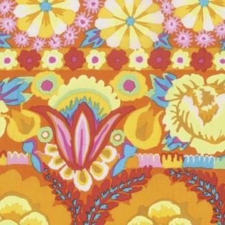 Tissu patchwork Kaffe Fassett - grandes fleurs jaunes en bordures - Artisan