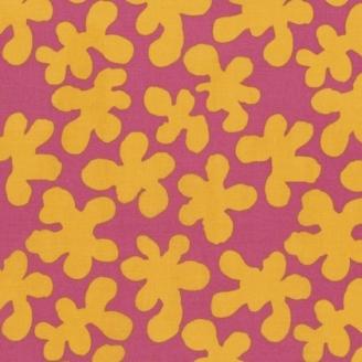 Tissu patchwork Kaffe Fassett - gribouillis jaunes fond fuchsia - Artisan