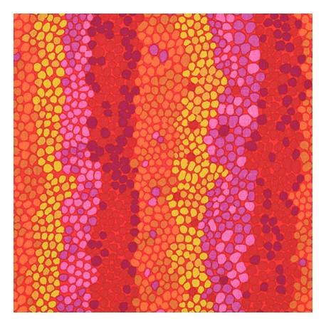 Tissu Kaffe Fassett Pebble rouge violet jaune
