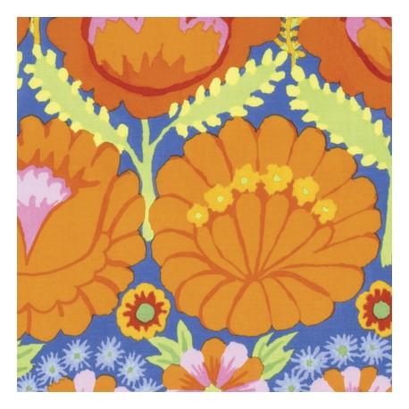 Tissu patchwork Kaffe Fassett - grandes fleurs oranges en bordures - Artisan