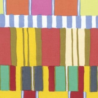 Tissu patchwork Kaffe Fassett - Rayures jaunes et vertes - Artisan