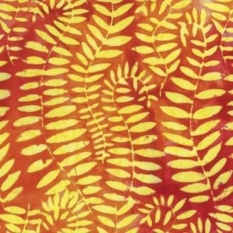 Tissu batik Kaffe Fassett - Fougères jaunes fond orange (Fronds tangerine) - Artisan