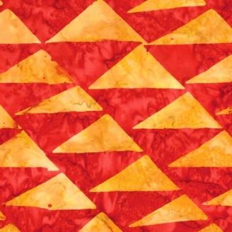 Tissu batik Kaffe Fassett - Fanions oranges fond rouge - Artisan