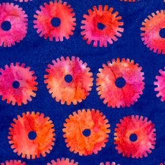 Tissu batik Kaffe Fassett - Roue rouge fuchsia fond bleu - Artisan