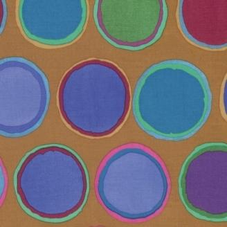 Tissu patchwork Kaffe Fassett - Pots de peintures bleus fond caramel - Artisan