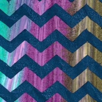 Tissu batik Kaffe Fassett - Zig-zag marine fond vert et violet - Artisan