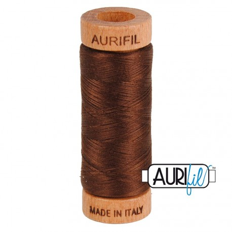 Fil de coton Mako 80 Aurifil - Brun chocolat 2360