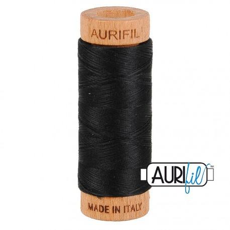 Fil de coton Mako 80 Aurifil - Noir ébène 2692
