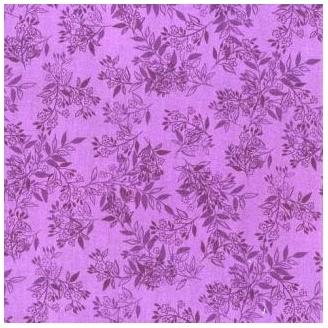 Tissu patchwork feuillages ton sur ton violet