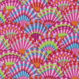 Tissu patchwork Kaffe Fassett - évantails roses (Paper fans GP143)
