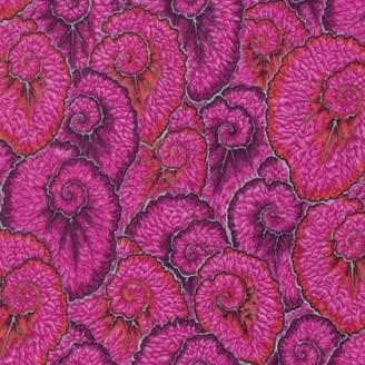Tissu patchwork Philip Jacobs - Feuilles en escargot fuchsia (Curlique PJ087)
