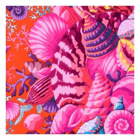 Tissu patchwork Philip Jacobs - Bouquet de coquillages roses fond rouge (Shell bouquet PJ088)