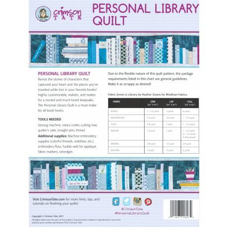 Personal Library Quilt - Bibliothèque - Modèle de patchwork personnalisable (en anglais)