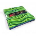 Charm pack de tissus Laurel Burch vert/bleu