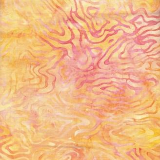 Tissu batik contours jaune et rose