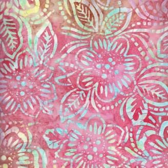 Tissu batik buisson fleuri rose et jaune