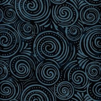 Tissu batik spirales noires