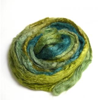 Soie Tussah teinte en vert et bleu canard