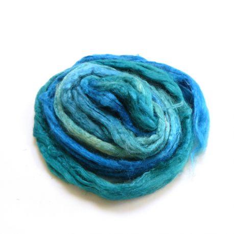 Soie Tussah teinte en bleu lagon