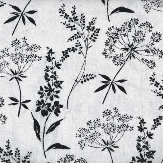Tissu patchwork herbes sauvages noires fond gris clair