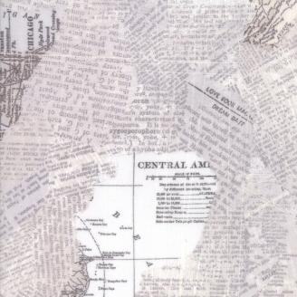 Tissu patchwork collage d'écritures et de cartes géographiques gris clair - Compositions de Basic Grey