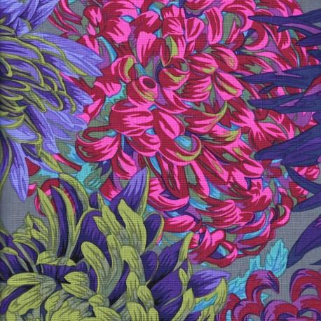 Tissu Philip Jacobs chrysanthèmes PJ41Antique (fond gris)