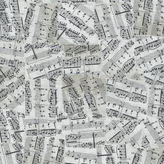 Tissu patchwork fragments de partitions de musique fond gris