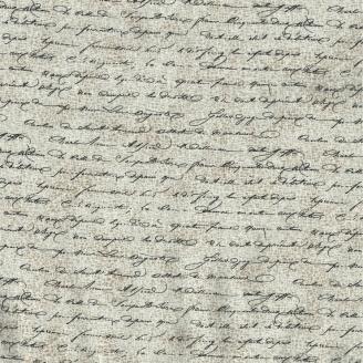 Tissu patchwork écritures cursives fond faux-uni beige