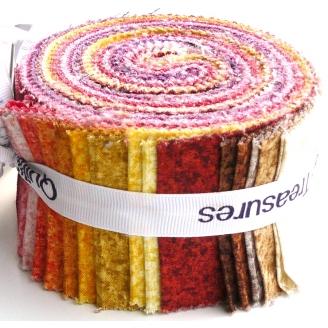 Jelly Roll de tissus faux-unis Color Blends - couleurs chaudes