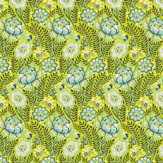 Tissu patchwork Tula Pink - fleurs-visages et abeille fond vert anis - Spirit Animal