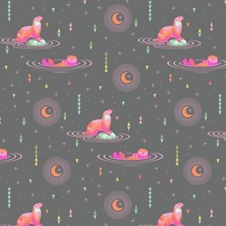 Tissu patchwork Tula Pink - loutres fuchsia fond gris foncé - Spirit Animal