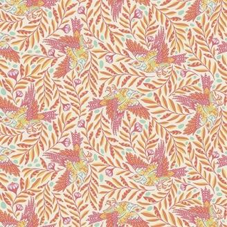 Tissu patchwork Tula Pink - oiseaux en vol orange fond écru - Spirit Animal