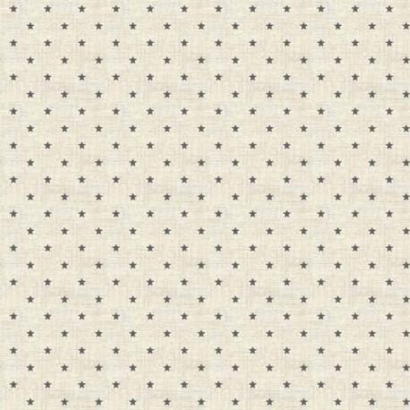 Tissu patchwork petites étoiles grises fond écru