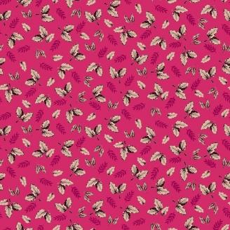 Tissu patchwork feuilles fond rose fuchsia - Botanica