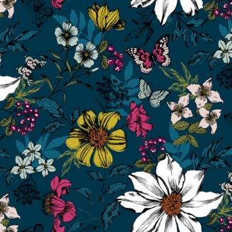 Tissu patchwork fleurs exotiques fond bleu - Botanica