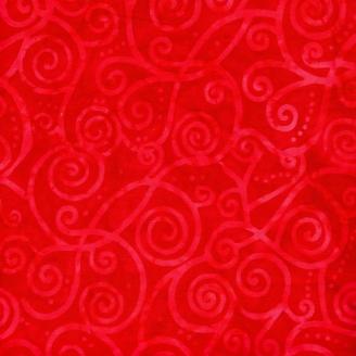 Tissu batik tourbillons rouges
