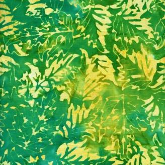 Tissu batik feuilles jaunes fond vert/turquoise